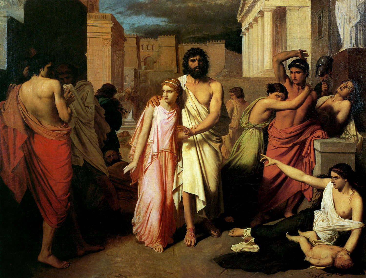 Fran  231 ois Jalabeat  Antigone Leads Oedipus Out of Thebes  1849Oedipus And Antigone